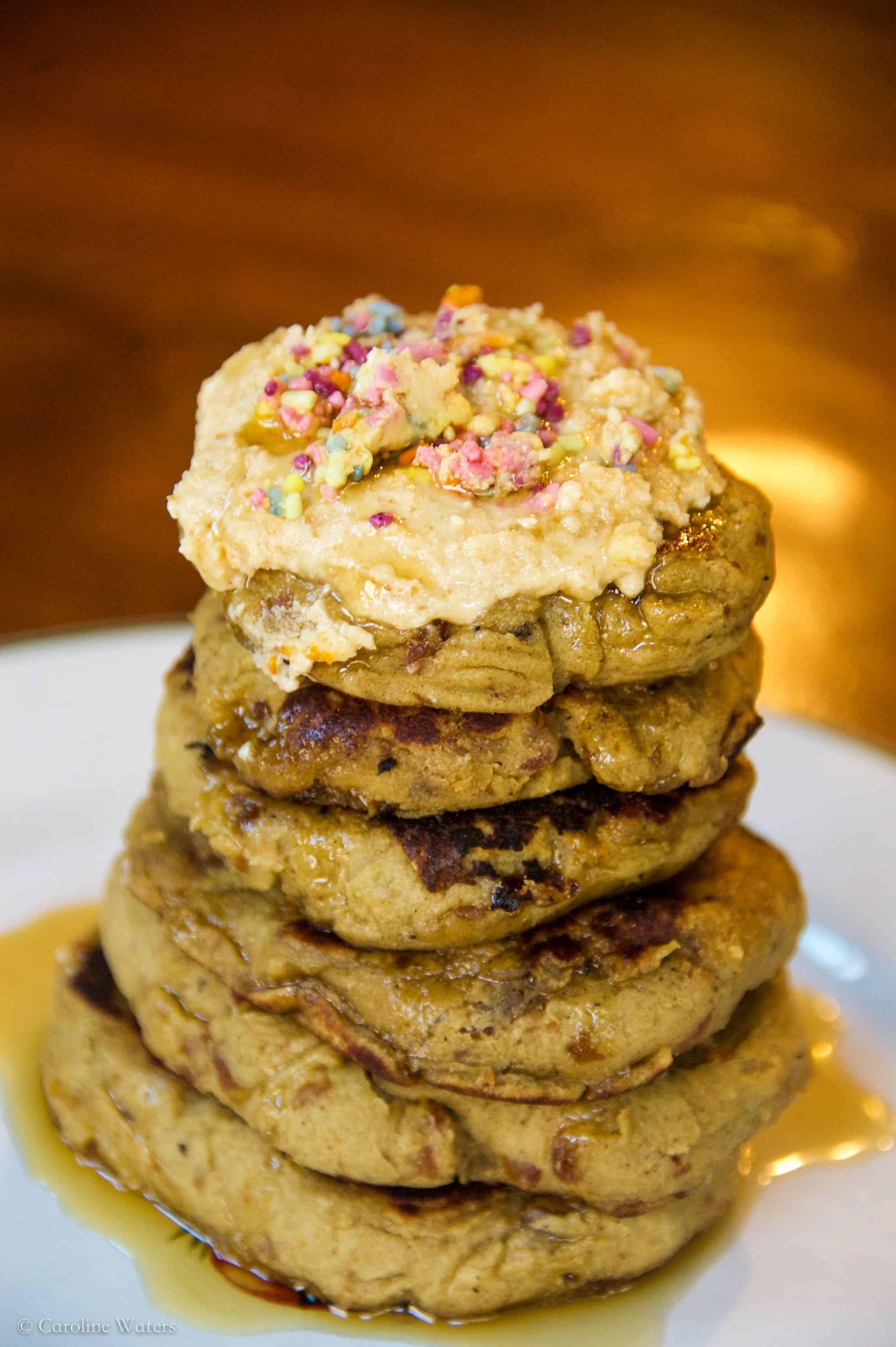 Mini Fluffy Birthday Cake Protein Pancakes!! (vegan option)