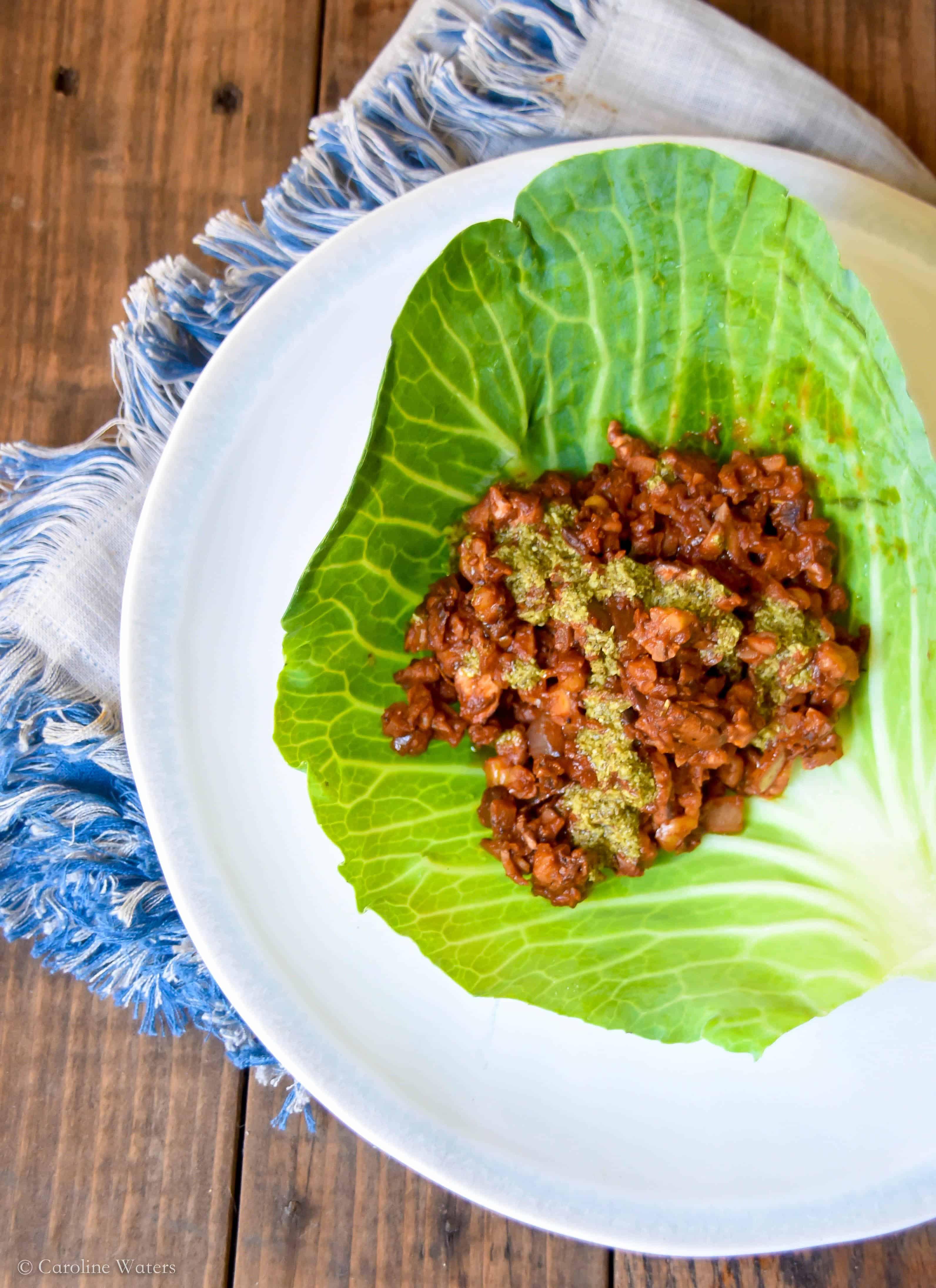 Delicious Vegan Ragout Lettuce Wraps (v)