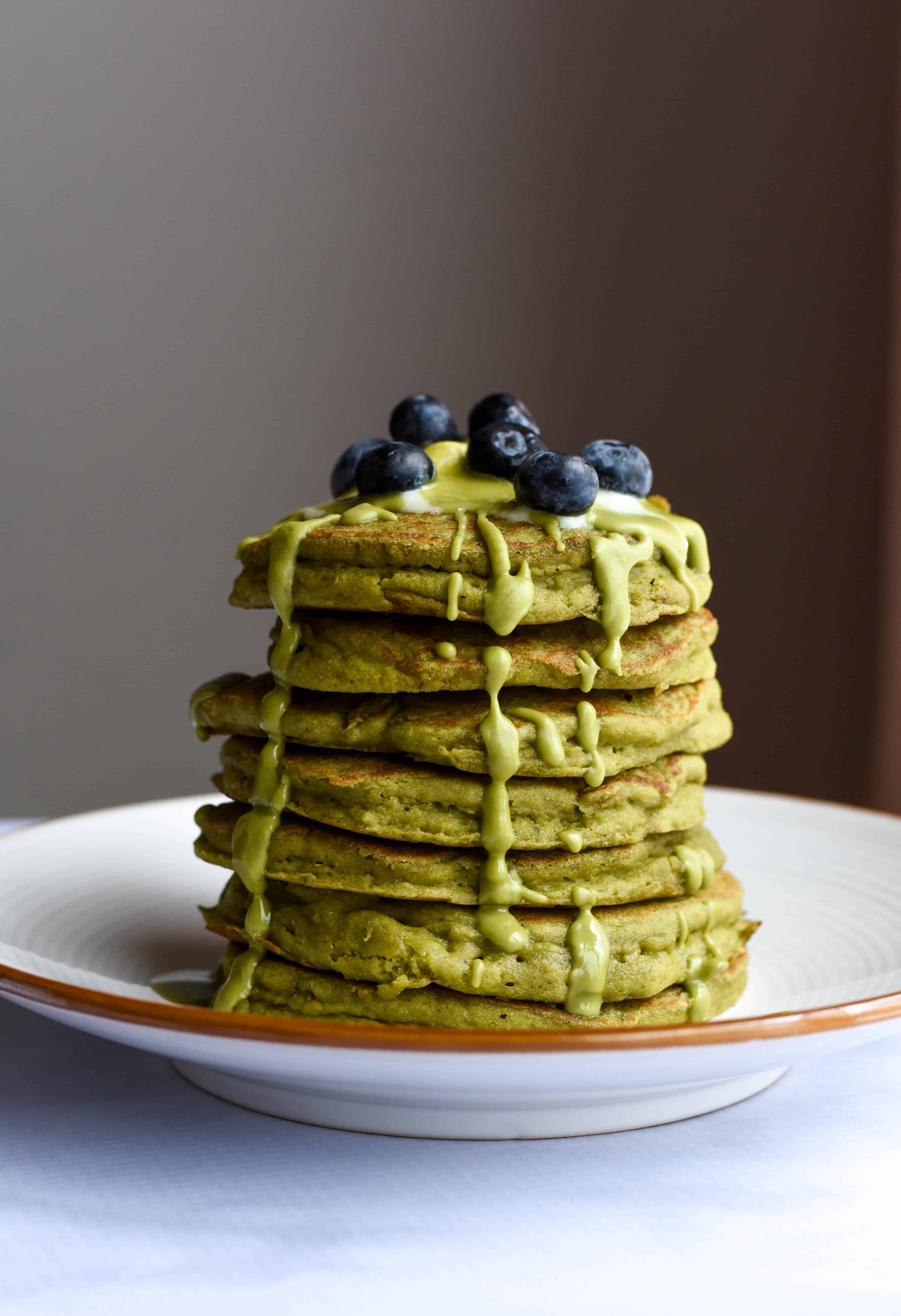 The Best Ever Gluten-Free Matcha Pancakes (veg)