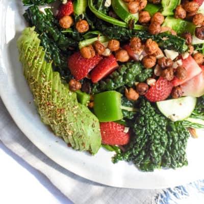 Kale, Berry, & Chickpea Summer Salad (vegan)