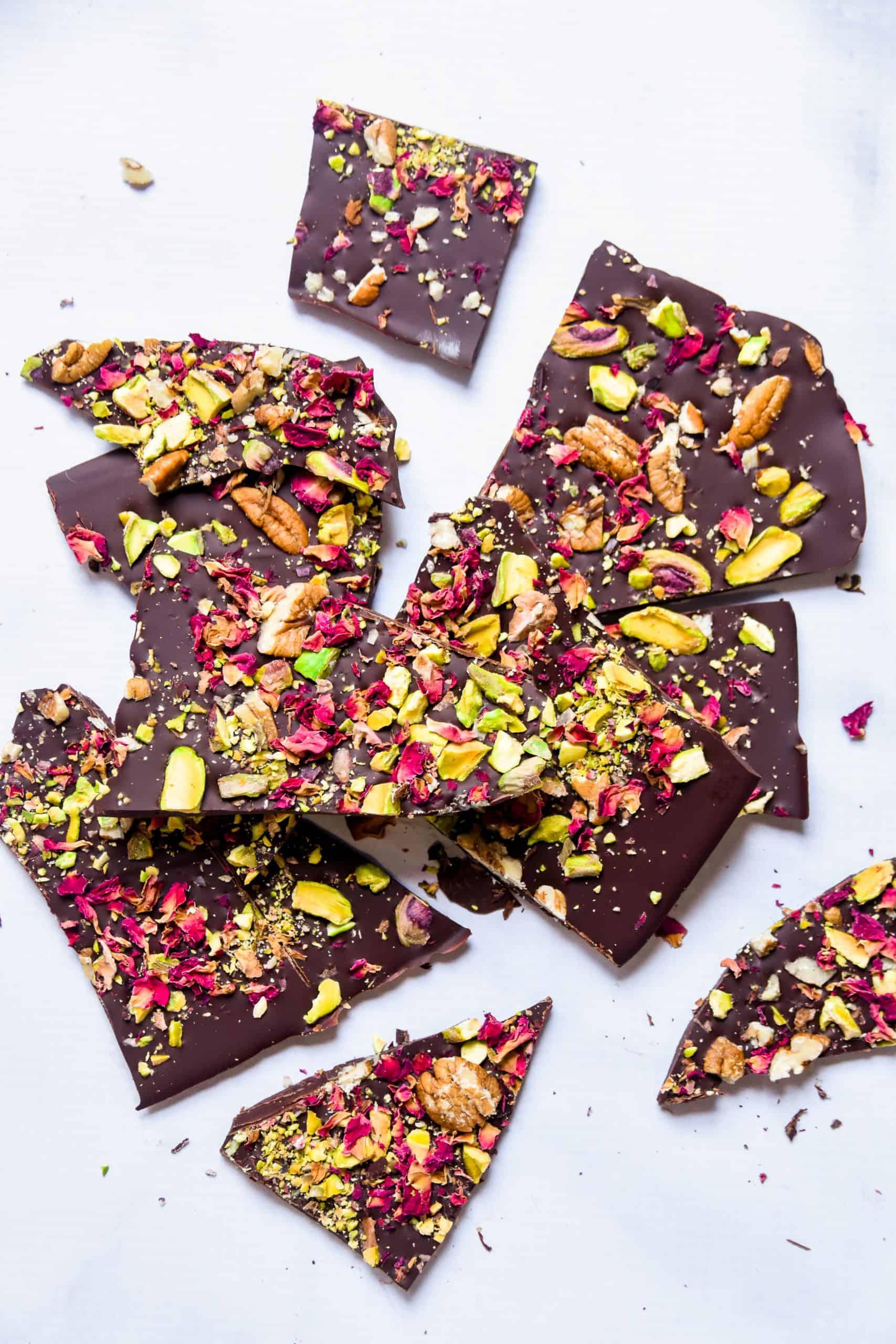 chocolate pistachio rose bark