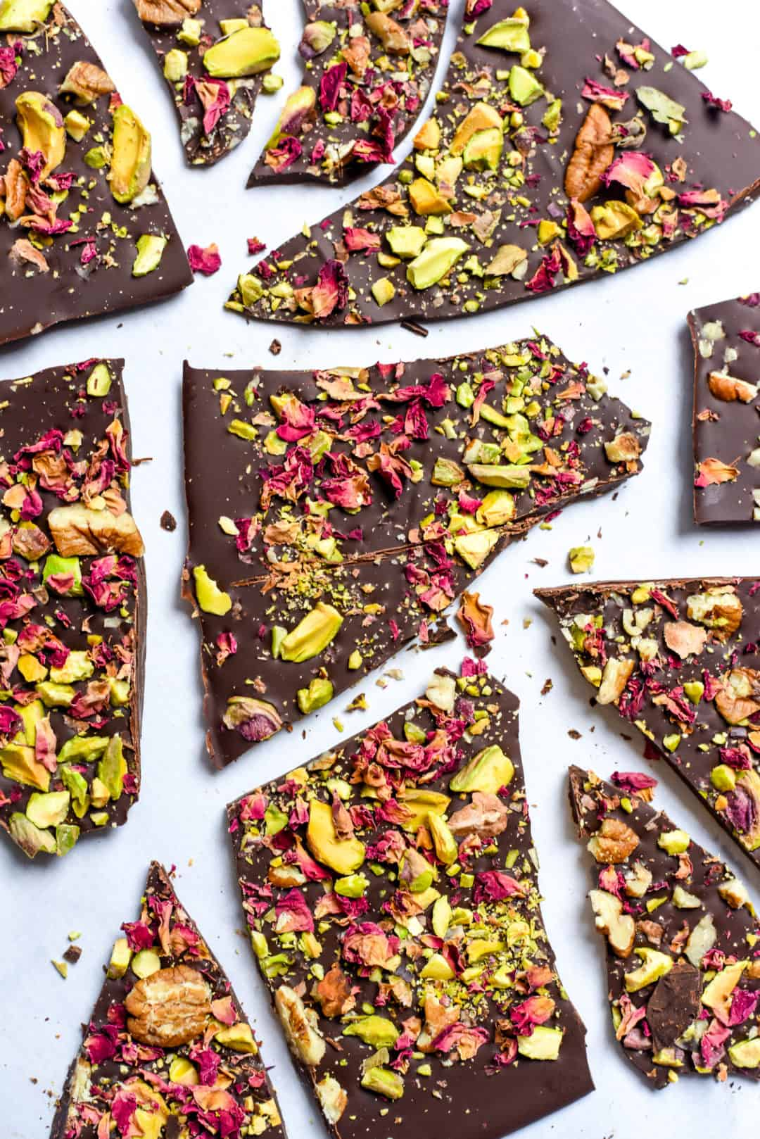Dark Chocolate Bark With Pistachio Pecans Rose Petals Veg