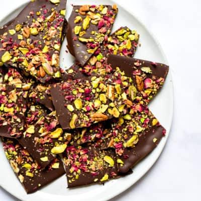 Dark Chocolate Bark with Nuts & Rose Petals (veg)