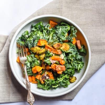 Roasted Veggie Kale Salad (vegan)