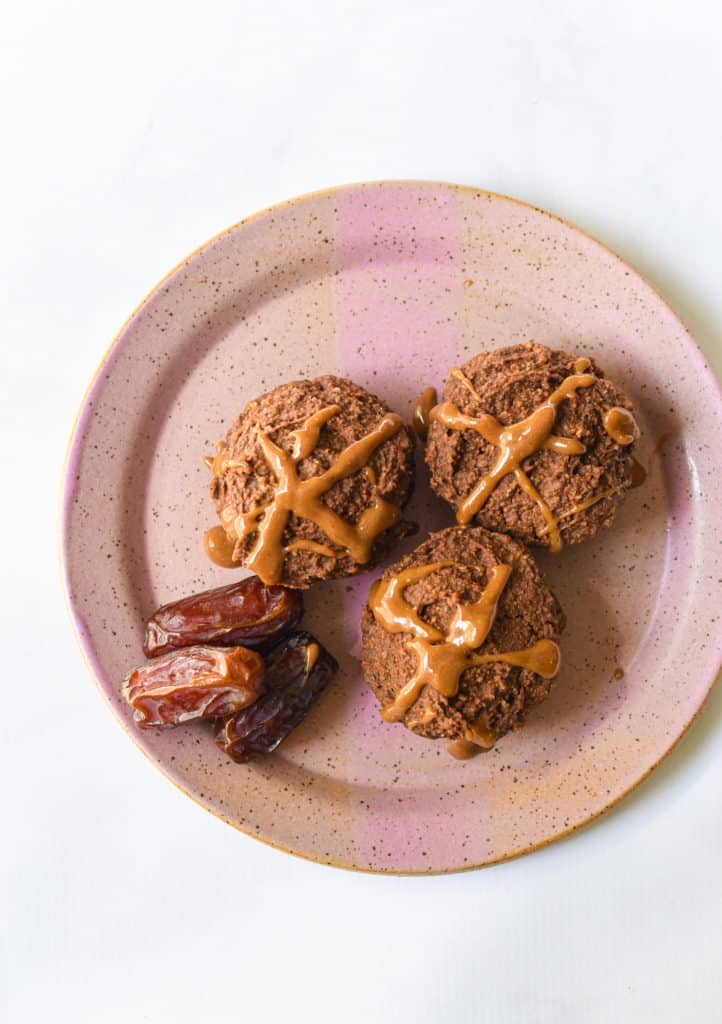 chocolate whole grain muffin with caramel