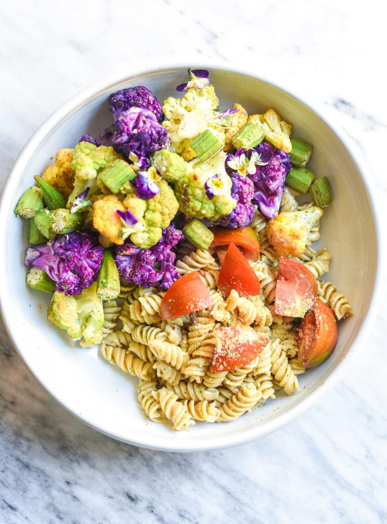 colorful-vegan-pasta-okra