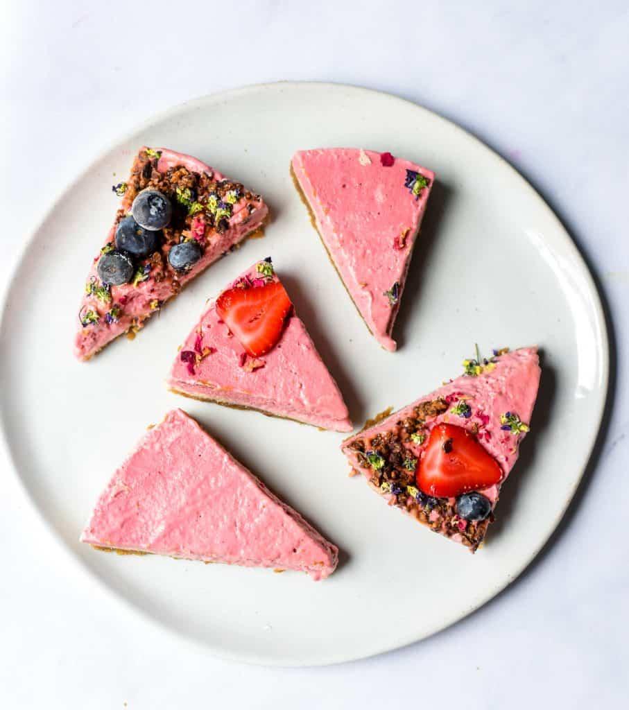 raw vegan strawberries and cream cake
