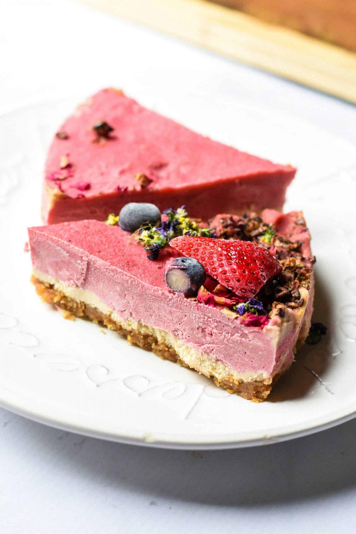vegan strawberries and cream cake