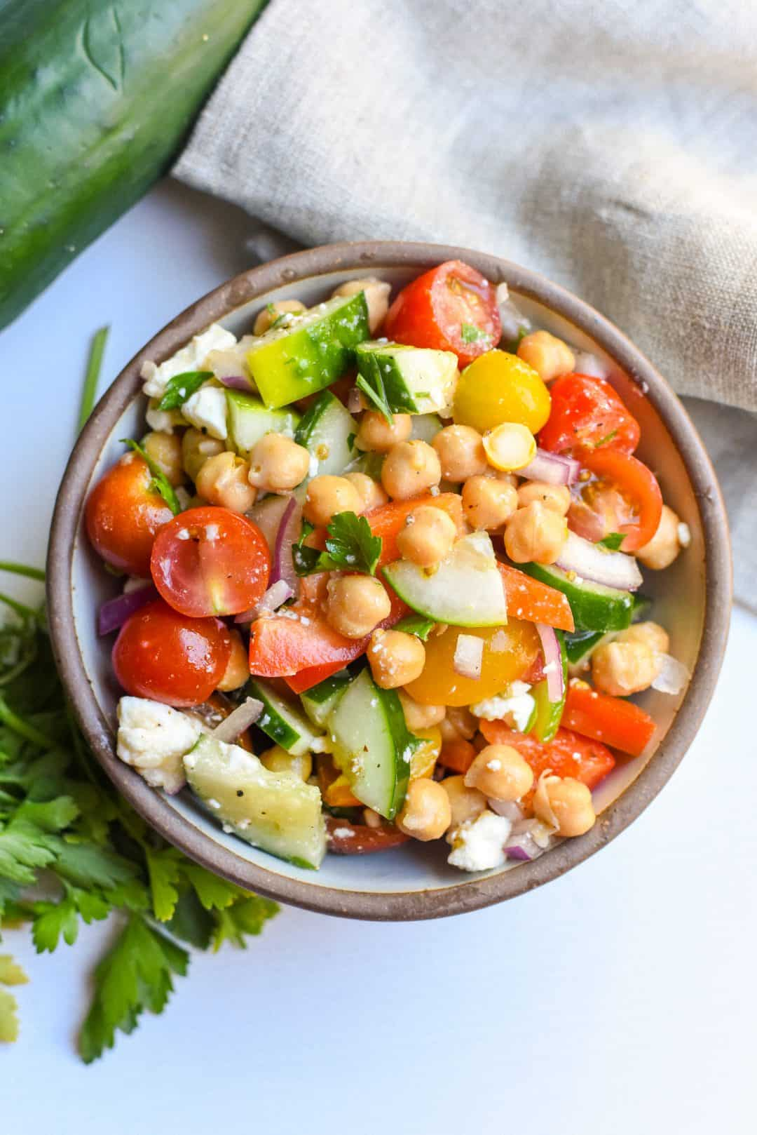 Simple Mediterranean Chickpea Salad
