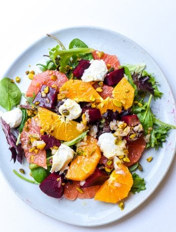 citrus beet ricotta salad with pistachios