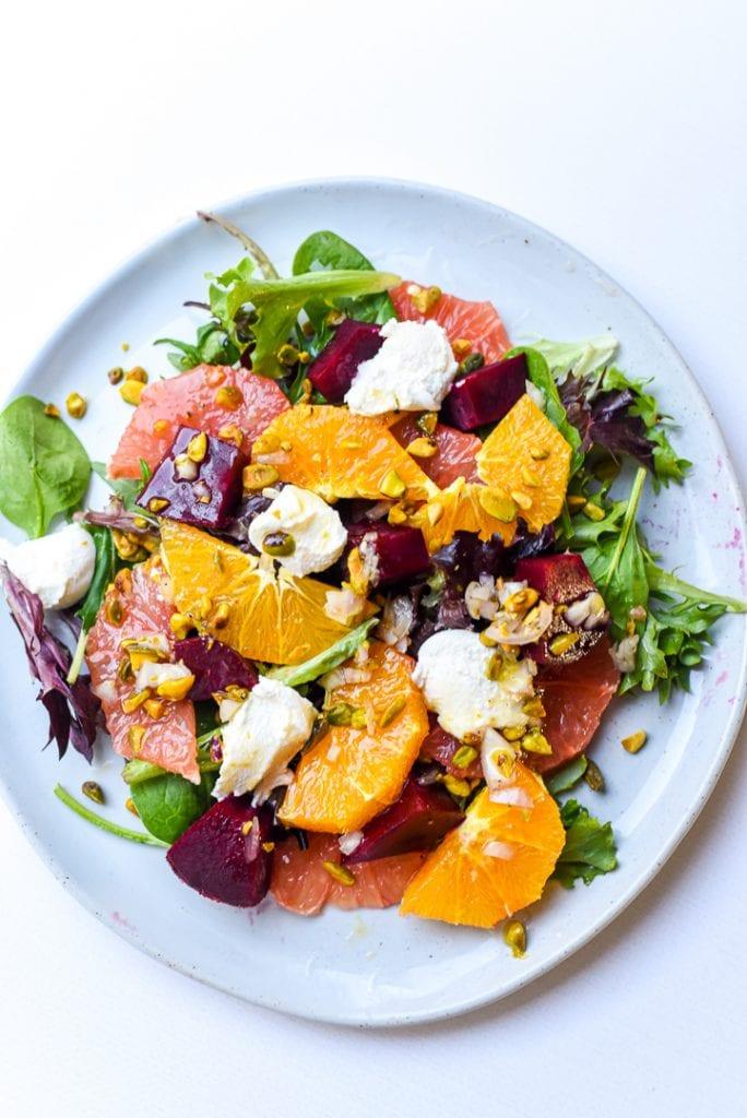 citrus beet ricotta salad with pistachios