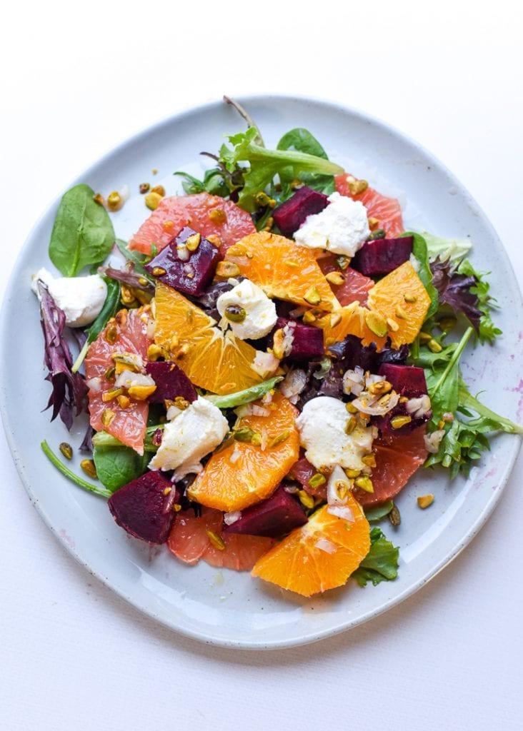 Winter Citrus, Beet, & Ricotta Salad with Pistachios