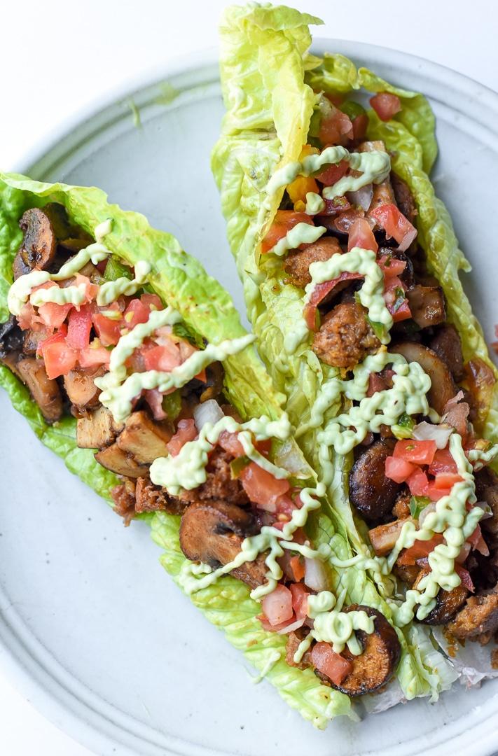 plant-based mushroom chorizo lettuce wraps