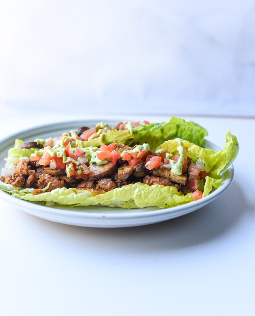 meatless chorizo lettuce wraps