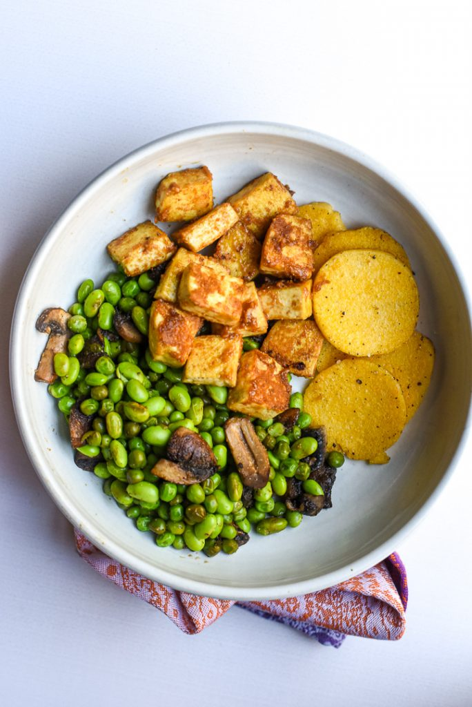 tofu veggies polenta cakes
