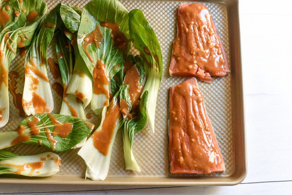 ginger miso salmon bok choy