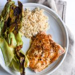 Roasted Ginger Miso Salmon with Bok Choy and Brown Rice