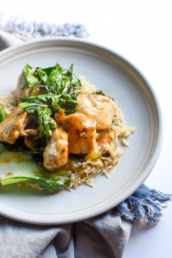 garlic miso chicken bok choy