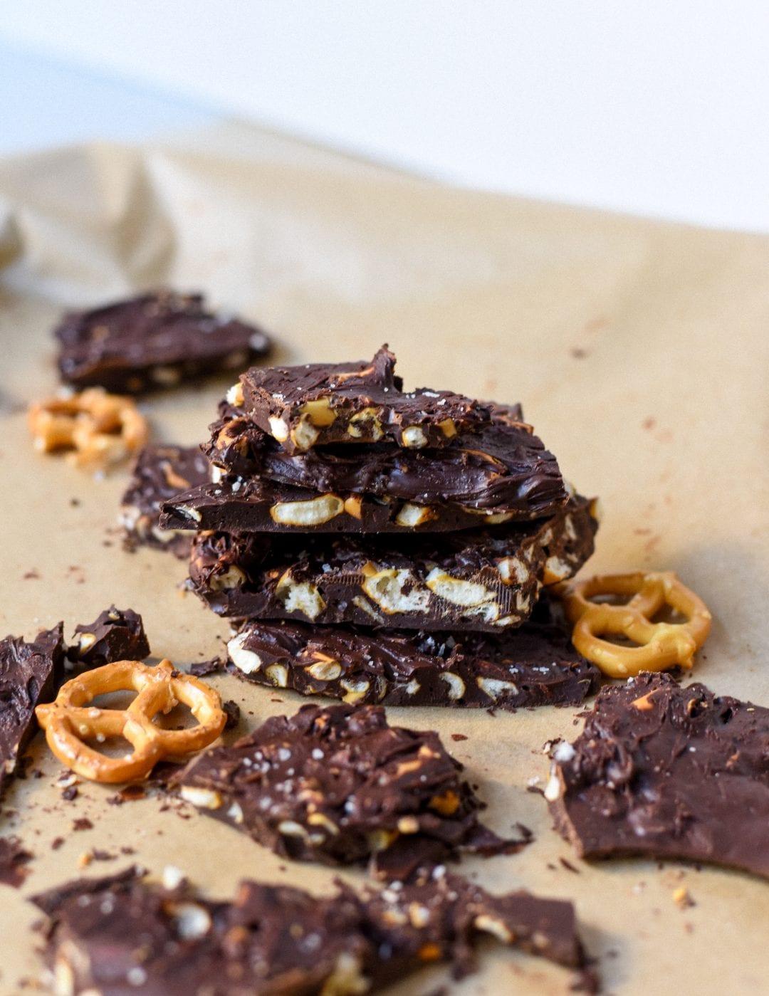 Homemade Dark Chocolate Pretzel Bark